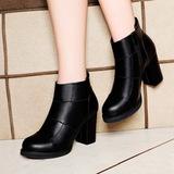 正品牌冬季真皮短靴女鞋软皮内绒毛保暖皮鞋粗跟雪地靴高跟防滑鞋