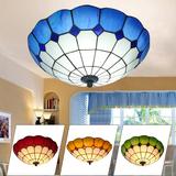 地中海吸顶灯温馨led现代家用客厅灯具卧室灯圆形餐厅玻璃灯饰罩