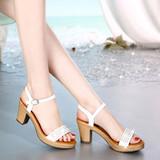 预售凉鞋女2016夏季新品真皮鞋粗跟高跟防水台鱼嘴编织水钻女鞋子