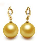 正品 10-11-12mm正圆天然海水南洋金珠耳钉耳环正品18k金钻石