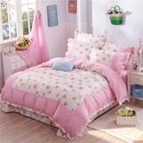 夏天四件套纯棉1.8m2.0m双人床上用品韩式公主风被子全棉床单被套