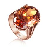 韩国韩版正品复古典潮人女高档镀18K金奥地利水晶大宝石食指戒指