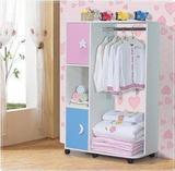 宜家简易大衣柜实木板式组装柜儿童小木质衣柜单门衣橱阳台柜
