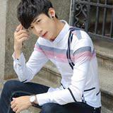 男士衬衫修身青年韩版休闲秋季薄款百搭长袖翻领简约免烫衬衣潮流