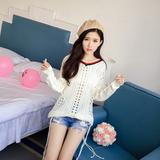 早秋新款韩版修身甜美镂空系带流苏V领长袖针织衫女套头薄毛衣白