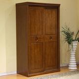 现代中式实木衣柜推拉门2移门衣柜卧室纯原木橡木两门组装大衣橱