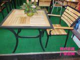 户外桌椅庭院休闲铁艺实木桌椅带遮阳伞组合 室外阳台酒吧桌椅