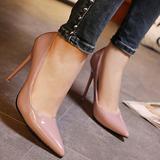 2016夏韩版黑色尖头细跟性感漆皮浅口单鞋女超高跟10cm夜店职业鞋