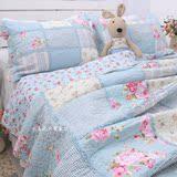 全棉高档床上用品韩国田园床盖拼布绗缝被三件四件套加厚床单被套
