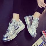 欧洲站夏季新款松糕厚底银色亮皮系带运动休闲鞋平底单鞋女鞋板鞋