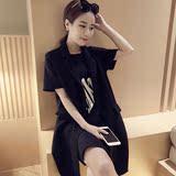 韩国东大门代购2016春装女装无袖马夹中长款黑色外搭西装马甲潮