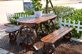 户外休闲桌椅/碳化防腐木/庭院阳台椅/酒吧桌椅/椭圆双人车轮桌椅