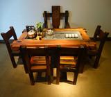 特价老船木茶桌茶几实木仿古功夫泡茶台客厅休闲茶桌椅组合可定做