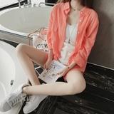 夏季女装清新棉麻衬衫上衣韩版宽松中长款蝙蝠袖开衫长袖防晒衬衣