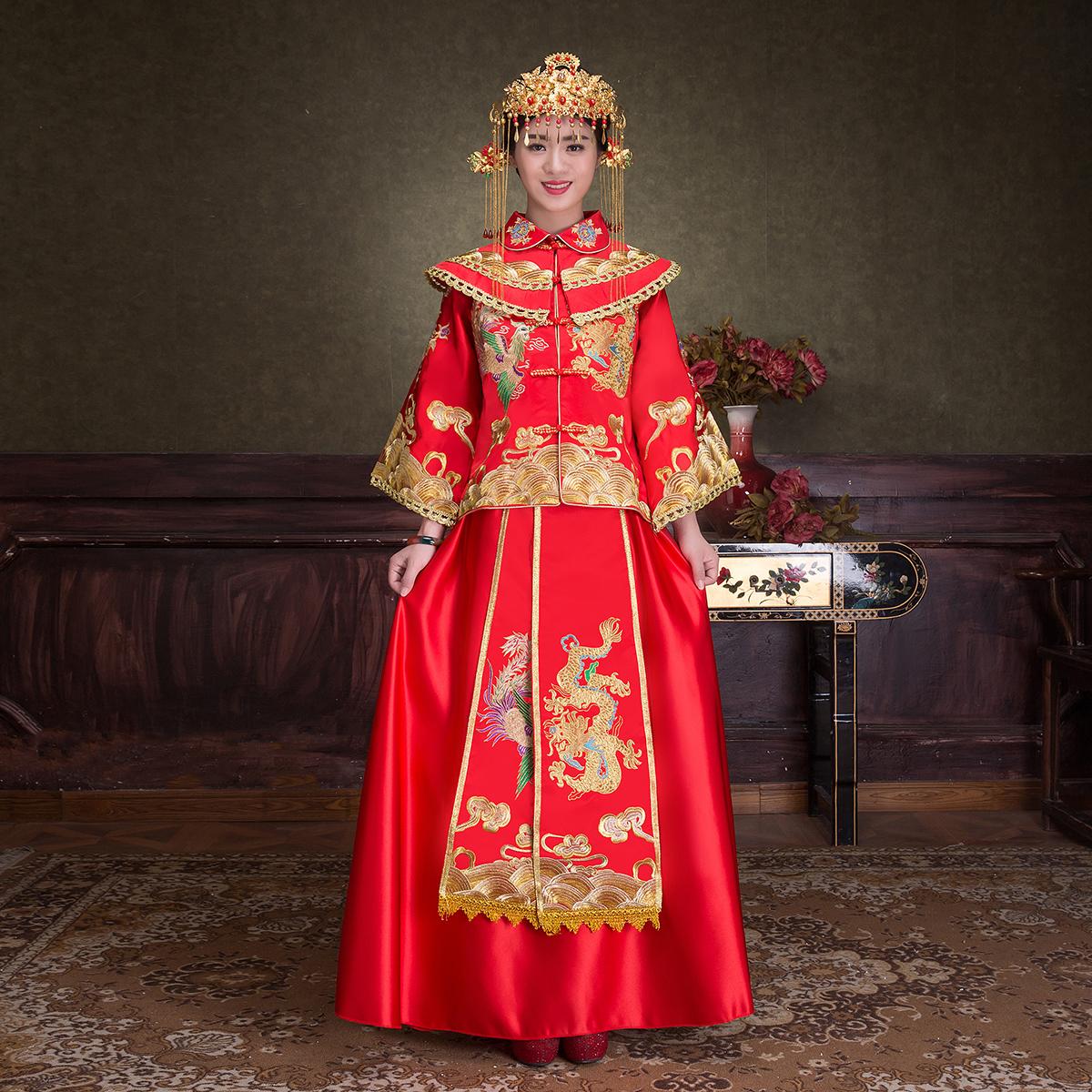 秀禾服春夏中式婚纱礼服结婚敬酒服古装新娘喜服龙凤褂嫁衣
