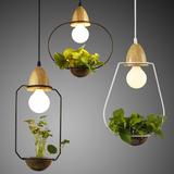 简约设计铁艺新中式创意床头卧室餐厅吧台橱窗玻璃植物装饰吊灯具