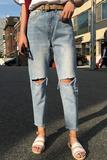 2016年夏季新款今年最流行的韩版东大门破洞高腰浅色九分牛仔裤女