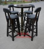 防腐碳化实木酒吧桌椅铁艺高脚酒吧桌椅户外阳台咖啡厅酒吧桌椅