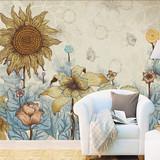 北欧复古手绘向日葵创意背景墙纸墙贴自粘壁纸客厅卧室贴纸贴画