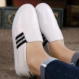 【天天特价】小白鞋女真皮白色乐福鞋休闲鞋真皮平底圆头女鞋板鞋