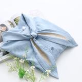 2016夏季日系甜美小清新学院风学生兔耳朵领结宽松条纹短袖衬衫女
