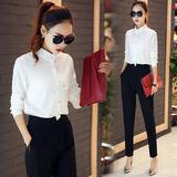 时尚套装女2016秋季新款韩版修身OL职业长袖衬衫休闲长裤两件套潮