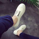 2016夏季韩版一脚蹬懒人鞋白色平跟学生帆布鞋女生平底低帮小白鞋