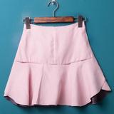 春夏新款麂皮绒包臀半身裙修身高腰荷叶边毛边短裙