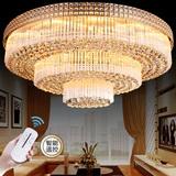 奢华LED金色客厅灯圆形水晶灯大气欧式现代灯长方形三层吸顶灯具