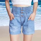 高腰牛仔裤短裤女夏显瘦弹力松紧腰热裤加肥加大码胖mm宽松四分裤
