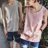 日系简约口袋男士宽松打底体恤衫夏季青少年纯色圆领无袖汗背心潮