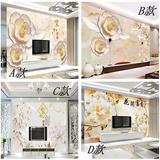 大型3d立体白牡丹花玉雕浮雕背景墙壁纸客厅卧室墙纸整张无缝壁画