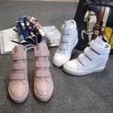欧洲站秋季新款魔术贴内增高女鞋真皮平底运动休闲鞋白色高帮鞋潮