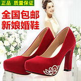 2016新款春季防水台工作鞋新娘鞋女粗高跟浅口单鞋中式结婚鞋红色