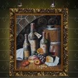 纯手工油画壁画客厅装饰画欧式玄关过道餐厅有框画欧式挂画红酒瓶