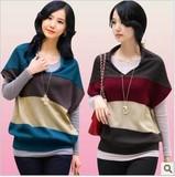 2016新款春装新品蝙蝠衫毛衣外套女款韩版宽松针织衫插色条纹毛衣