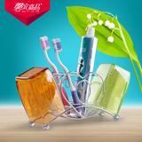 创意可爱不锈钢牙刷架套装带漱口杯情侣心形牙膏收纳杯架洗漱套装