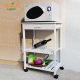 白色时尚厨房带滑轮移动微波炉烤箱餐车置储物餐边柜 小户型欧式