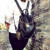 兔迷狼舍新款韩版女包双肩包手提斜挎布包荔枝纹皮包拉链金属背包