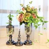 新古典欧式样板间样板房家居装饰品客厅 玻璃仿真花瓶工艺品摆件