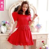 雪纺连衣裙夏季韩版大码红色修身时尚显瘦复古软妹女公主裙子905