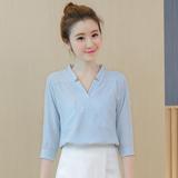 夏装新款V领五分袖雪纺衬衫女短袖韩范上衣宽松口袋短款韩版衬衣