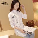 白衬衫女长袖 中长款百搭韩范学生打底修身 韩版宽松学院风女衬衣