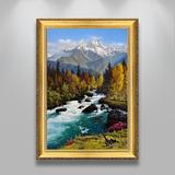 欧式油画纯手绘山水风景别墅客厅玄关过道装饰画招财风水竖版挂画