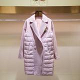 2015冬装新款女装韩版显瘦拼接西装领加厚保暖茧型羽绒服女中长款