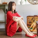 2016夏装新款韩版大红色百褶短袖雪纺连衣裙公主裙五分袖宽松裙女