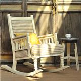 欧式田园复古美式做旧摇椅阳台客厅方格布艺躺椅老上海牛皮-包邮