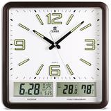 霸王日历挂钟14英寸大号方形挂表钟表客厅现代创意静音万年历挂钟