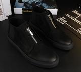 欧洲站男靴磨砂反绒皮高帮男鞋子复古短靴英伦系带休闲鞋棉鞋