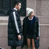 冬装韩版情侣棉衣外套修身连帽中长款加厚羽绒服百搭男女面包服潮